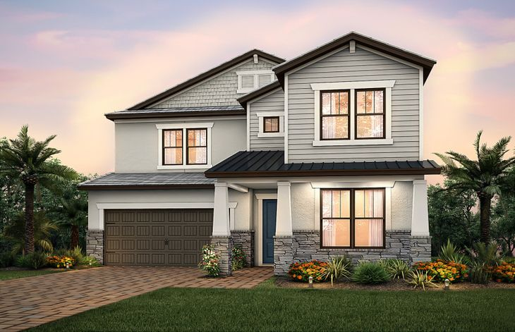 Valleybrook:The Valleybrook, a two-story family home with a 2 car garage, shown with Home Exterior C2D