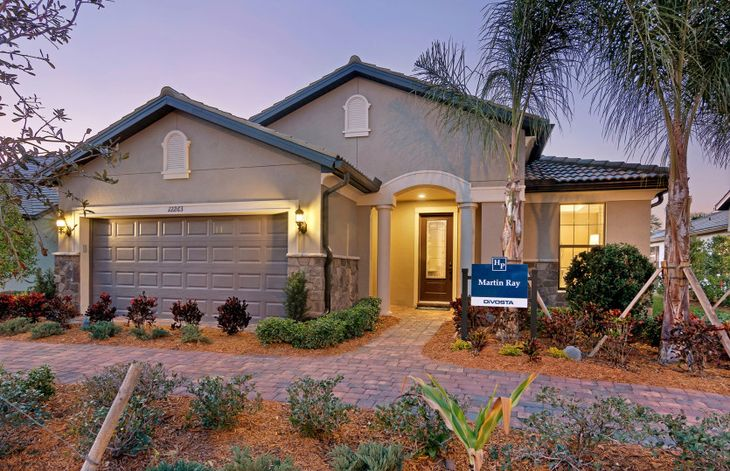 Martin Ray:The Martin Ray, a single-story family home with a 2 car garage, shown with Home Exterior FM2B