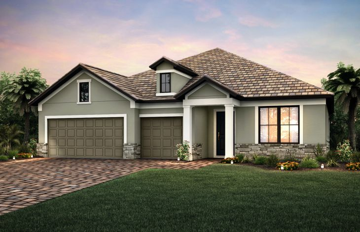 Infinity:Exterior LC2B with decorative stone accents