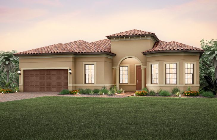 Pinnacle:The Pinnacle, a one-story family home with loft option and a 2 car garage, shown with Home Exterior
