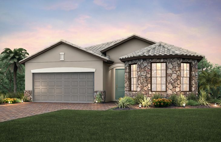 Marina:The Marina, a single-story home with a 2 car garage, shown with Home Exterior FM2A