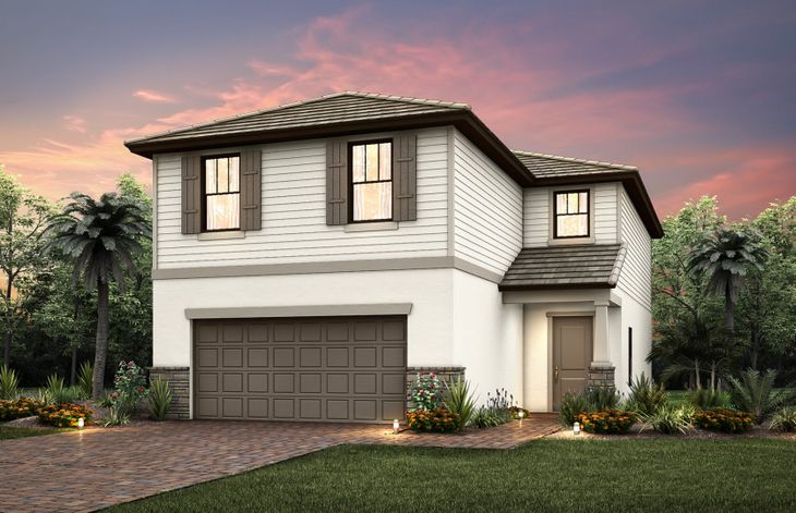 Driftwood:The Driftwood, a two-story home with a 2 car garage, shown with Home Exterior C2A