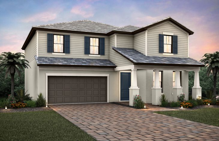 Sandhill:The Sandhill, a two-story home with a 2 car garage, shown with Home Exterior C2B