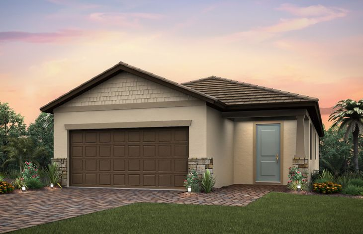 Tropic:The Tropic a single-story home with a 2 car garage, shown with Home Exterior C2A