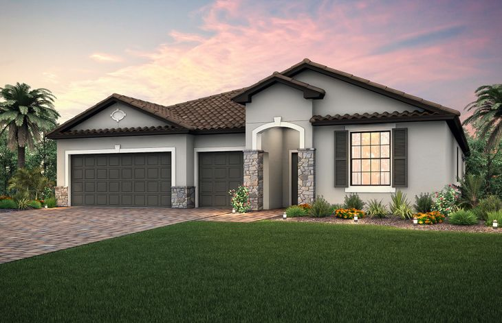 Dockside:The Dockside, a single-story home with a 3 car garage, shown with Home Exterior FM2A