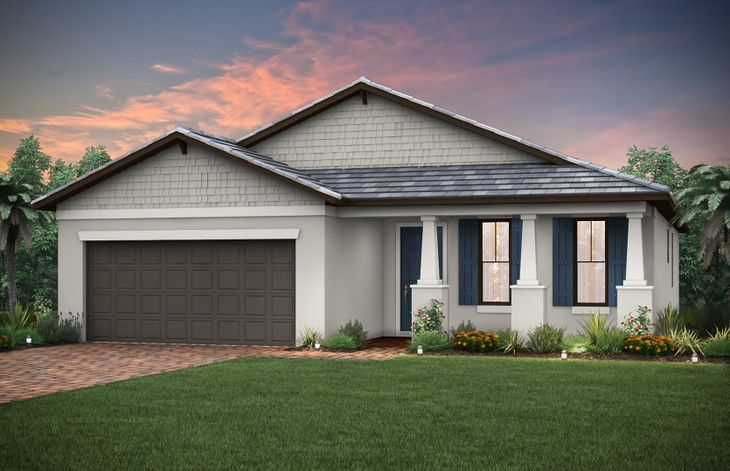 Canopy:The Canopy, a single-story home with a 2 car garage, shown with Home Exterior C2B