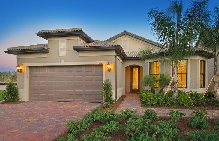 Summerwood:The Summerwood, a single-story family home with a 2 car garage, shown with Home Exterior FM2B