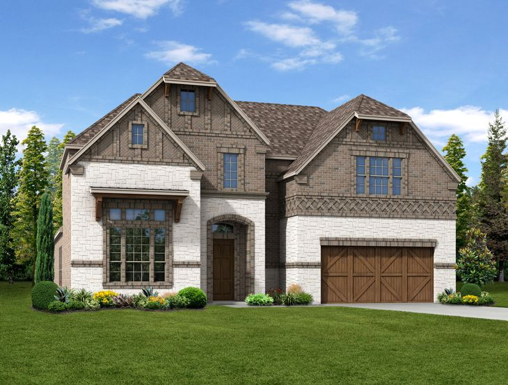 New Home Front Exterior Brick and White Brick with Cedar Garage Door, Elevation D of Harper Floor...:Harper - Exterior Elevation D