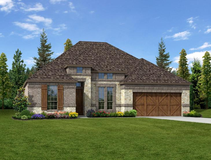 New home rendering of Scarlett floor plan exterior elevation A by Dunhill Homes:Scarlett - Exterior Elevation A