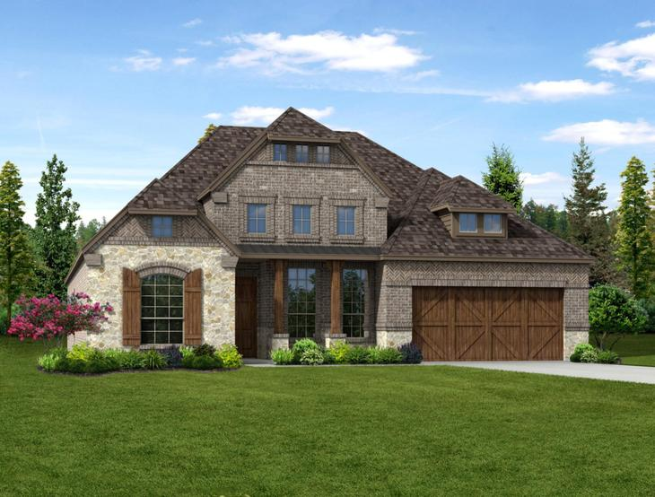 New home rendering of Scarlett floor plan exterior elevation D by Dunhill Homes:Scarlett - Exterior Elevation D