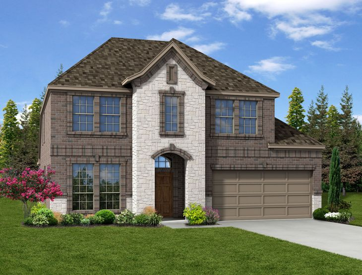 New Home Front Exterior Brick and White Brick with Metal Garage, Elevation D of Grayson Floor Pla...:Grayson - Exterior Elevation D