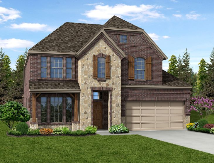 New Home Front Exterior Brick and Stone with Metal Garage, Elevation E of Grayson Floor Plan by D...:Grayson - Exterior Elevation E