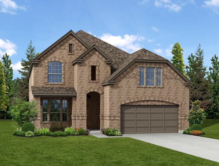 New home rendering of Camelot floor plan exterior elevation B by Dunhill Homes:Camelot - Exterior Elevation B