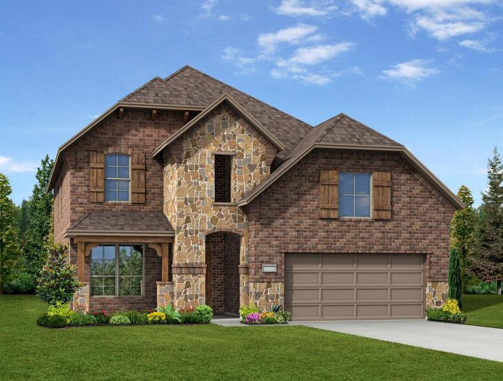 New home rendering of Camelot floor plan exterior elevation E by Dunhill Homes:Camelot - Exterior Elevation E