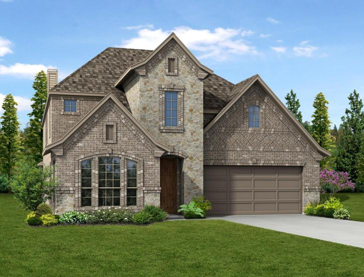 New home rendering of Summer floor plan exterior elevation D by Dunhill Homes:Summer - Exterior Elevation D