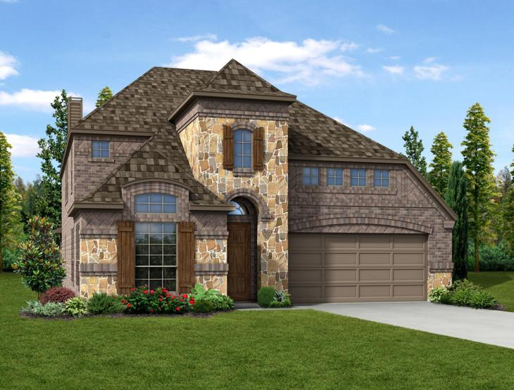 New home rendering of Summer floor plan exterior elevation E by Dunhill Homes:Summer -  Elevation E