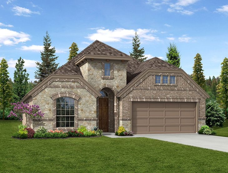 New Home Front Exterior Brick and Stone with Metal Garage, Elevation B of Kensington Floor Plan B...:Kensington - Exterior Elevation B