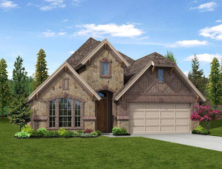 New Home Front Exterior Brick and Stone with Metal Garage, Elevation D of Kensington Floor Plan B...:Kensington - Exterior Elevation D