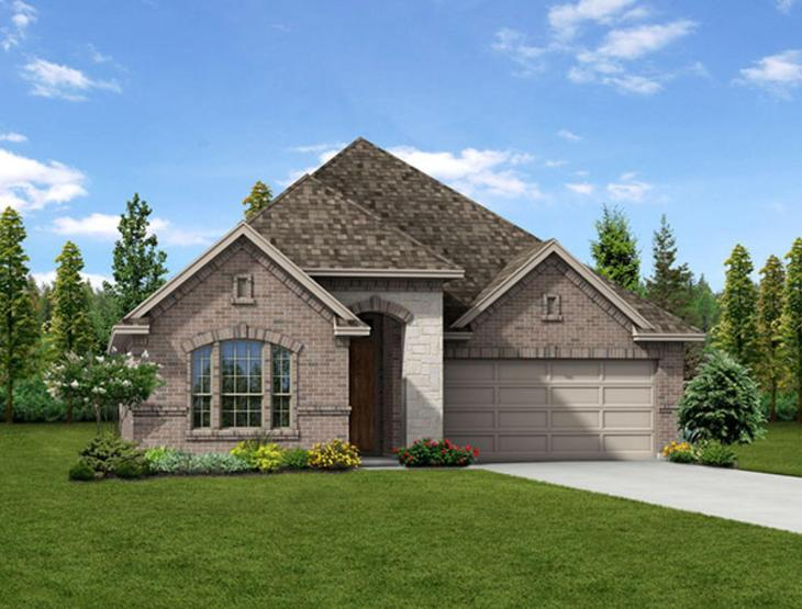 New home rendering of Manor floor plan exterior elevation B by Dunhill Homes:Manor - Exterior Elevation B