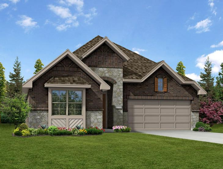 New home rendering of Manor floor plan exterior elevation D by Dunhill Homes:Manor - Exterior Elevation D