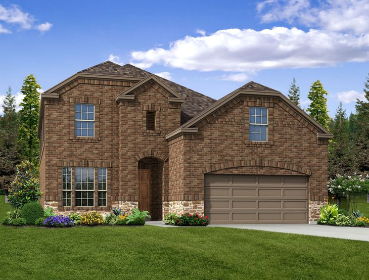 New Home Front Exterior Brick with Metal Garage Door, Elevation B of Bailey Floor Plan by Dunhill...:Bailey - Exterior Elevation B