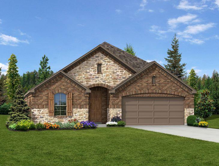 New Home Front Exterior Stone and Brick with Metal Garage Door, Elevation C of Camelot Floor Plan...:Caroline - Exterior Elevation C