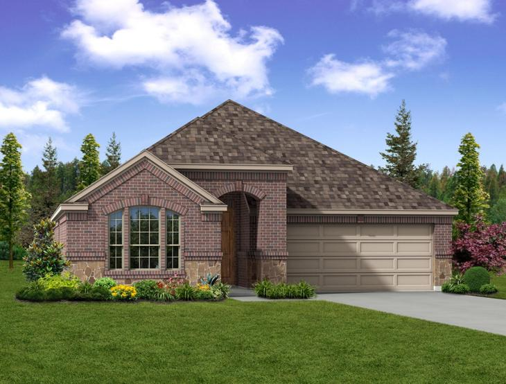 New home rendering of Weston floor plan exterior elevation B by Dunhill Homes:Weston - Exterior Elevation B