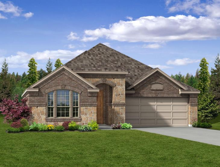 New home rendering of Weston floor plan exterior elevation C by Dunhill Homes:Weston - Exterior Elevation C