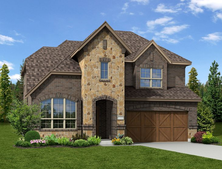New Home Front Exterior Brick and Stone with Cedar Garage Door, Elevation H of Annabelle Floor Pl...:Annabelle - Exterior Elevation H