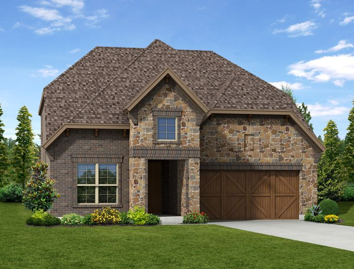 New Home Front Exterior Stone and Brick with Cedar Garage, Elevation E of Kinsley Floor Plan By D...:Kinsley - Exterior Elevation E