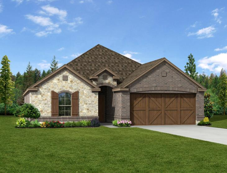 New home rendering of Oliver floor plan exterior elevation F by Dunhill Homes:Oliver - Exterior Elevation F