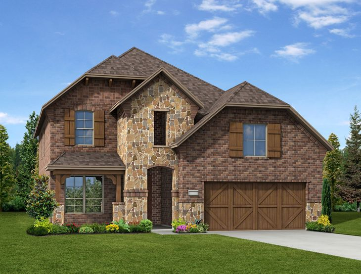 New Home Front Exterior Brick and Stone with Cedar Garage Door, Elevation E of Camelot Floor Plan...:Camelot - Exterior Elevation E