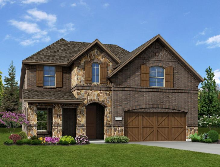 New home rendering of Olivia floor plan exterior elevation E by Dunhill Homes:Olivia - Exterior Elevation E