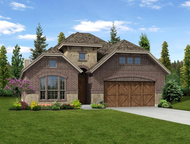 New Home Front Exterior Brick with Cedar Garage, Elevation B of Addison II Floor Plan by Dunhill ...:Addison II - Exterior Elevation B