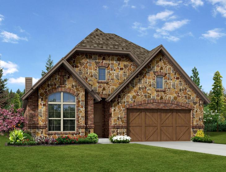 New Home Front Exterior Stone with Cedar Garage, Elevation D of Addison II Floor Plan by Dunhill ...:Addison II - Exterior Elevation D