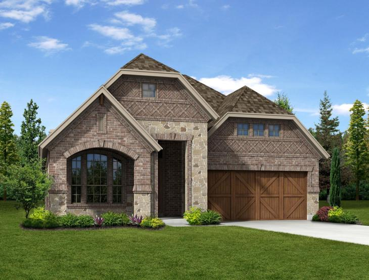 New home rendering of the Addison II floor plan exterior elevation F by Dunhill Homes:Addison II - Exterior Elevation F