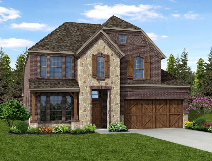 New Home Front Exterior Brick and Stone with Cedar Garage, Elevation E of Grayson Floor Plan by D...:Grayson - Exterior Elevation E