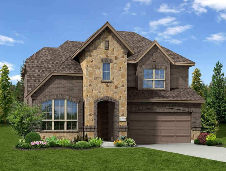 New Home Front Exterior Brick and Stone with Metal Garage Door, Elevation H of Annabelle Floor Pl...:Annabelle - Exterior Elevation H