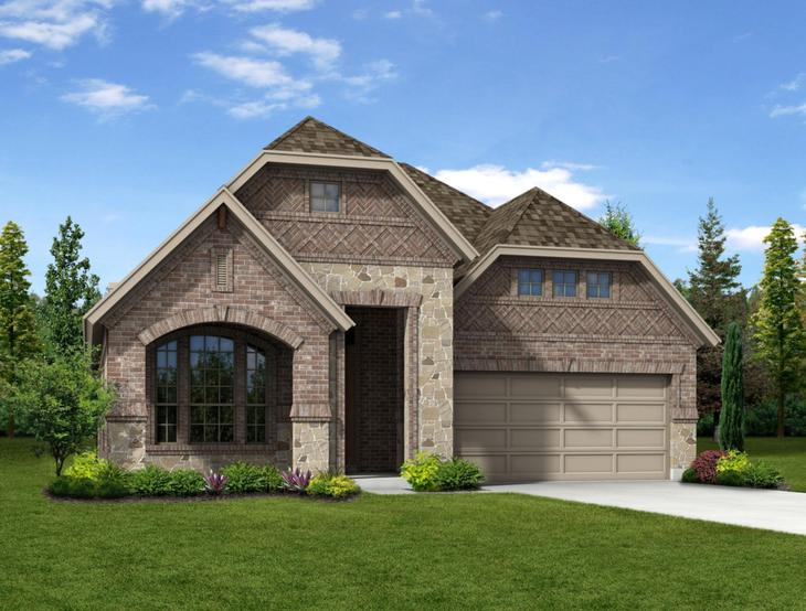 New Home Front Exterior Brick and Stone with Metal Garage, Elevation F of Addison II Floor Plan b...:Addison II - Exterior Elevation F