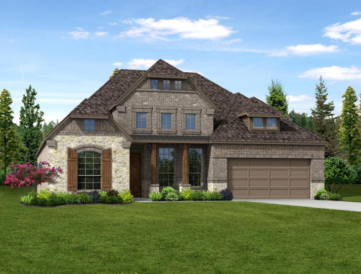 New home rendering of Scarlett floor plan exterior elevation D by Dunhill Homes:Scarlett - Exterior Elevation D