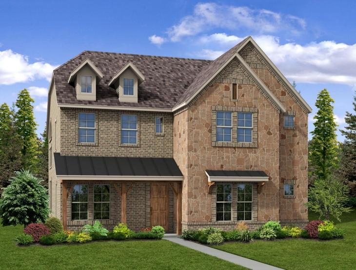 New home rendering of Tinley floor plan exterior elevation C by Dunhill Homes:Tinley - Exterior Elevation C