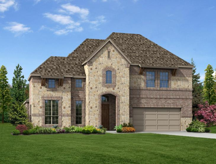 New home rendering of Riley floor plan exterior elevation D by Dunhill Homes:Riley - Exterior Elevation D
