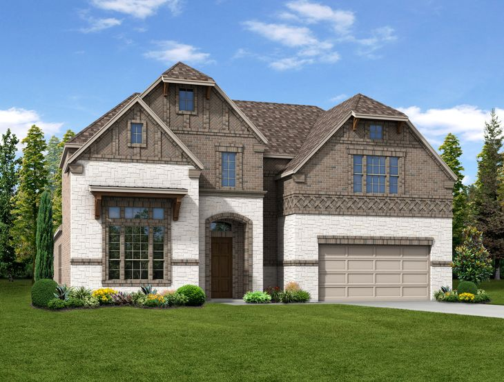 New Home Front Exterior Brick and White Brick with Metal Garage Door, Elevation D of Harper Floor...:Harper - Exterior Elevation D