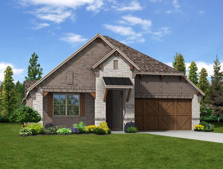 New home rendering of Rosedale floor plan exterior elevation J by Dunhill Homes:Rosedale - Exterior Elevation J