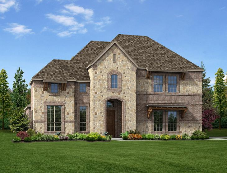 New home rendering of Riley floor plan exterior elevation D side entry garage by Dunhill Homes:Riley - Exterior Elevation D