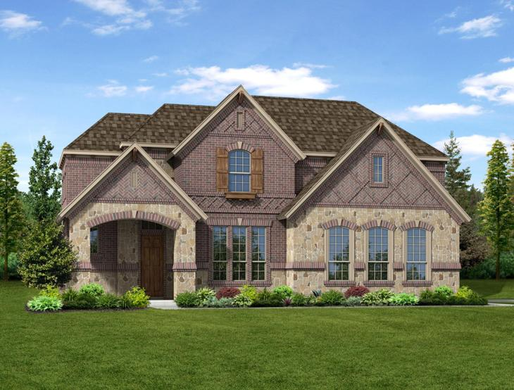 New home rendering of Sawyer floor plan exterior elevation B side entry garage by Dunhill Homes:Sawyer - Exterior Elevation B
