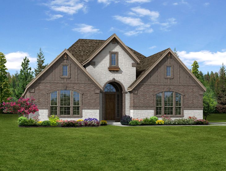 New home rendering of Anna floor plan exterior elevation C side entry garage by Dunhill Homes:Anna - Exterior Elevation C