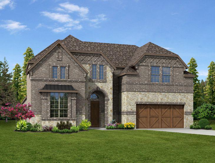 New Home Front Exterior Brick and Stone with Cedar Garage Door, Elevation C of Harper Floor Plan ...:Harper - Exterior Elevation C