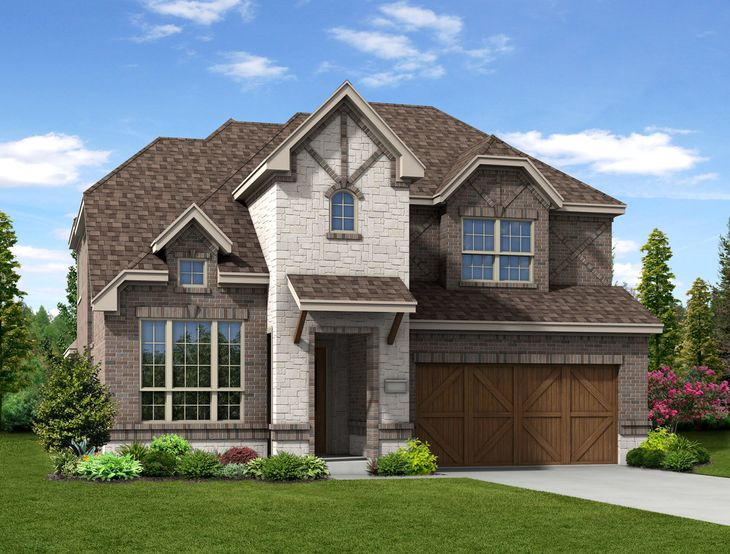 New Home Front Exterior Brick and White Stone with Cedar Garage Door, Elevation G of Annabelle Fl...:Annabelle - Exterior Elevation G