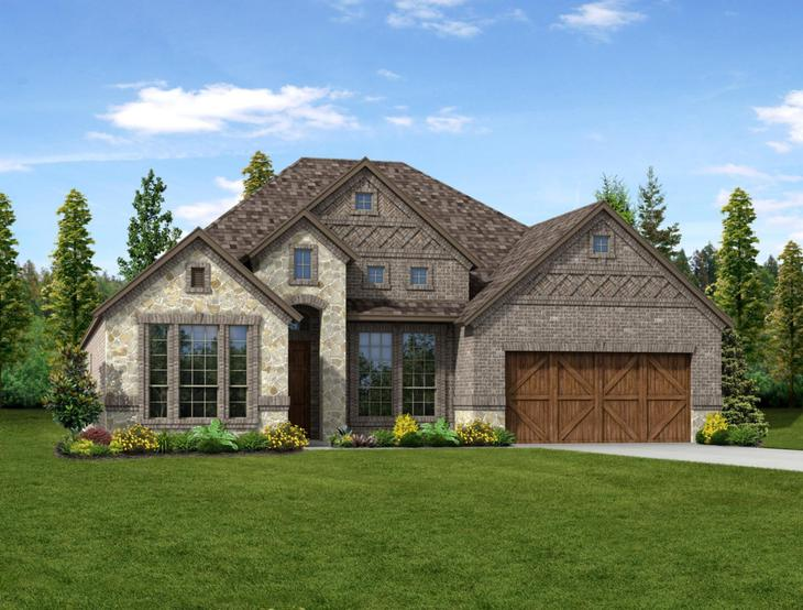 New home rendering of Scarlett floor plan exterior elevation B by Dunhill Homes:Scarlett - Exterior Elevation B